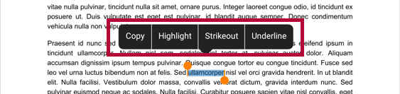 Shows the long press options to copy, highlight, strikeout, or underline text in the paper.