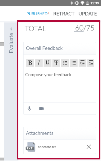 Identifies feedback options.