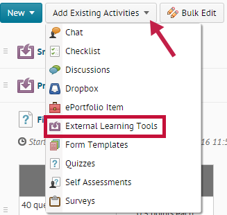 Indicates the Add Existing Activities button and identifies the External Learning Tools option.