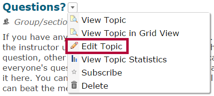 Identifies the Edit Topic option.
