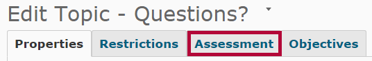 Identifies the Assessment tab.
