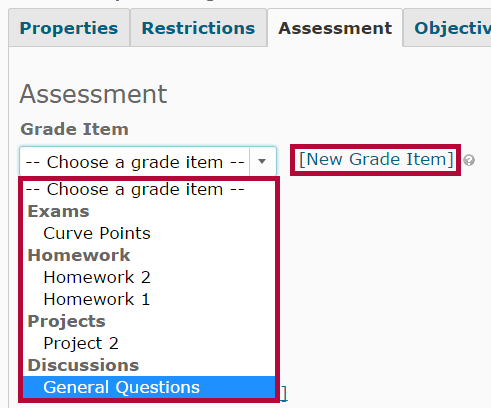 Identifies the Grade Item dropdown list.