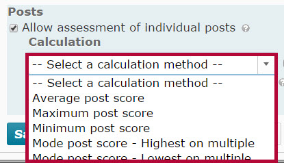 Identifies Calculation method options.