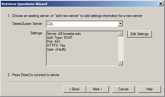 Shows the server selector.