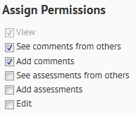 Shows the permission options.