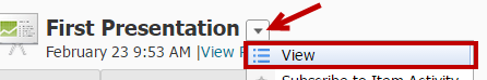 Identifies the View option in the dropdown menu.