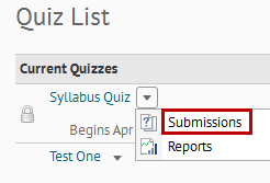 Identifies Submissions option in the drop-down menu.