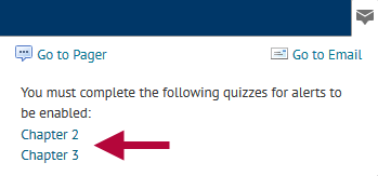 Indicates quizzes to be submitted.