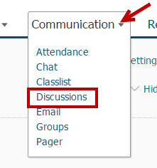 Identifies Discussions option.