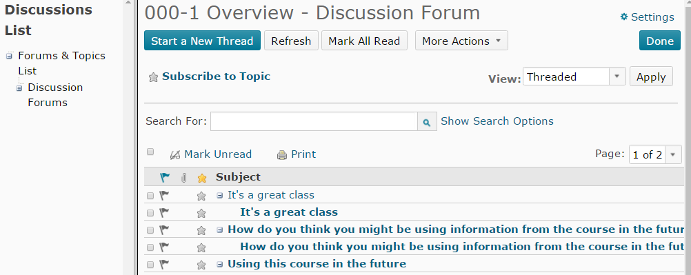 Shows grid view of discussions