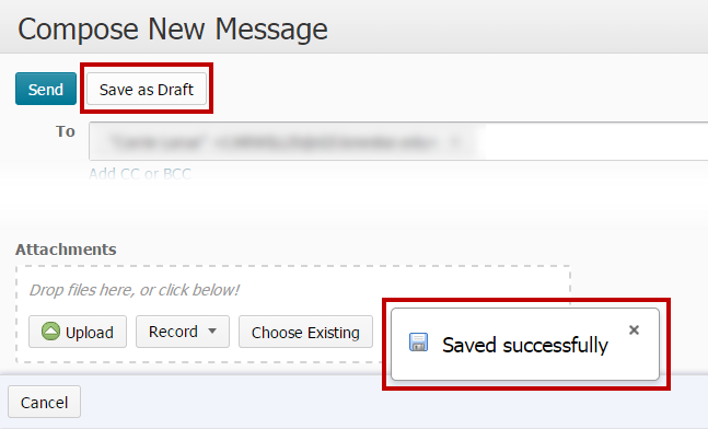 Identifies the Save as Draft button. Identifies Saved Succesfully message.