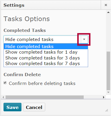 Identifies the Completed Tasks settings.