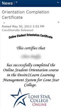 Shows certificate of completion.