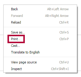 Identifies the Print option.