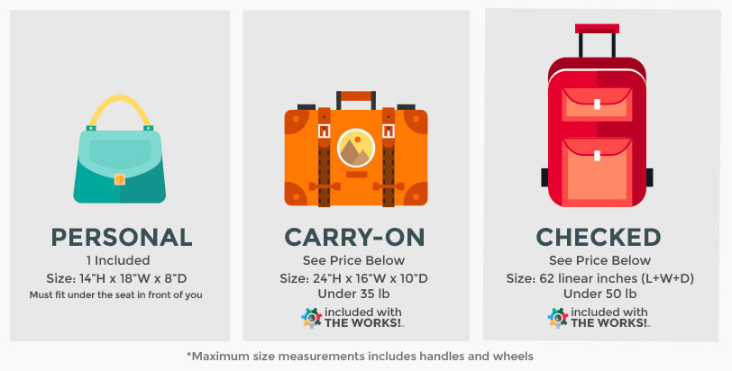What Are The Sizes And Weight Limits For Bags Frontier