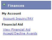 Shows the items in the Finances category.