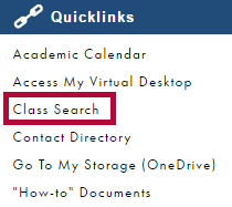 Identifies Class Search.
