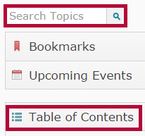 Identifies the search field and the Table of Contents.