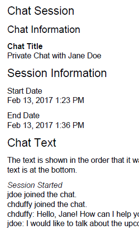 Shows sample chat session log.