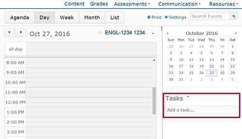 Identifies Tasks area of Calendar.