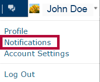 Identifies the Notifications option.
