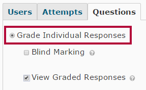 Identifies the Grade Individual Responses selection.
