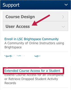 Indicates User Access button under Support and the Extend Course Access for a Student form.