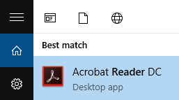Shows Acrobat located via Windows Search field