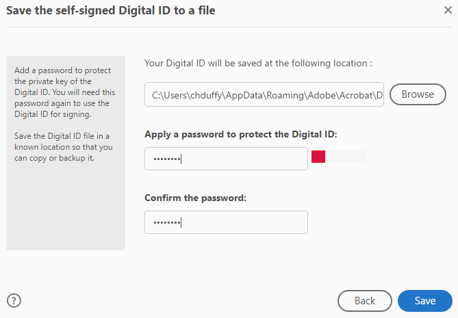 Shows the Apply a password fields.