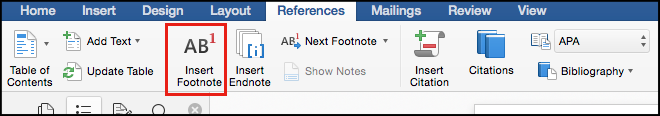 inserting footnotes in word