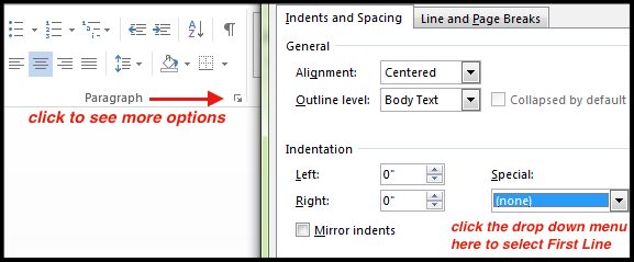 indents and spacing menu'