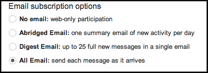 email subscription options