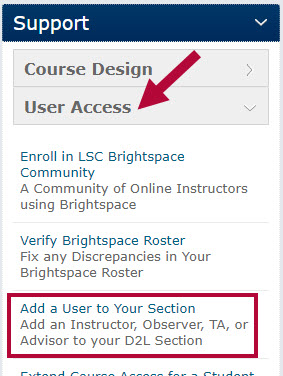 Indicates the User Access button and identifies the Add a User to Your Section form.