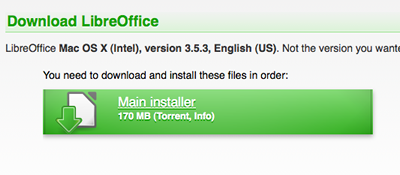 Shows download button on the LibreOffice website.