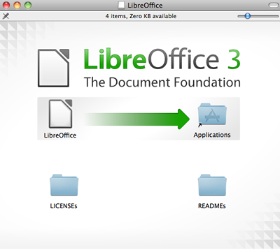 Shows how to drag LibreOffice to Applications folder