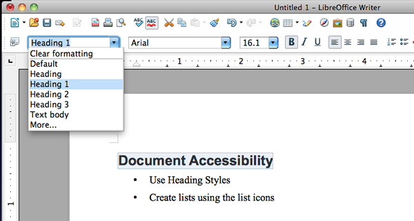 Shows how to apply styles using dropdown menu in LibreOffice