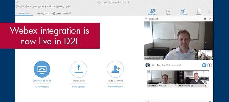 WebEx integration is now live in D2L.