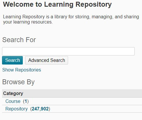 Shows the Repository Search field and Advanced Search.