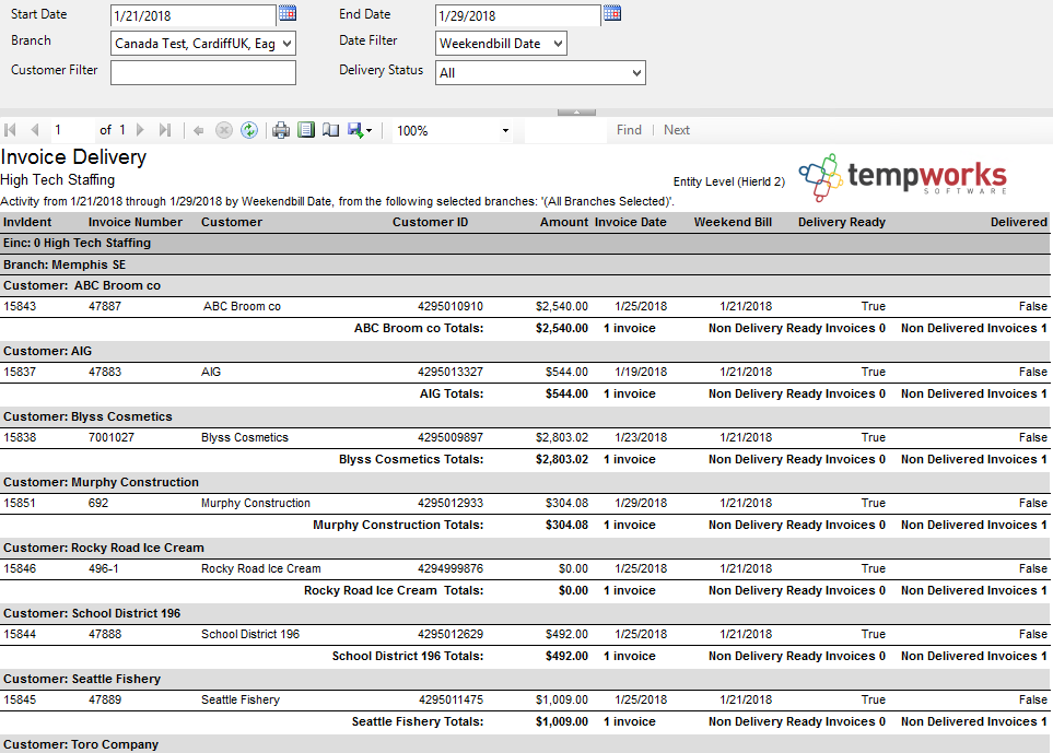 Invoice Delivery Report TempWorks Knowledge Base - Invoice delivery system