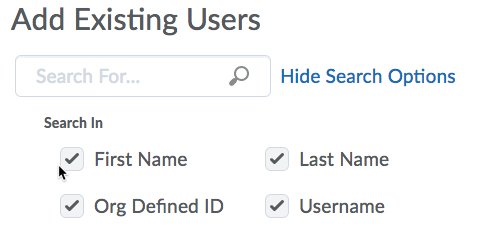 Add Existing Users search option