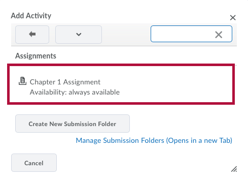 Screenshot of Choose Assignment Option