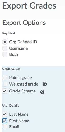Screenshot of Export Options on Export Grades page
