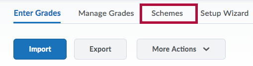Schemes tab on Grades page