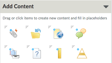Shows Add Content section in Course Builder