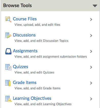 Shows Browse Tools section in Course Builder