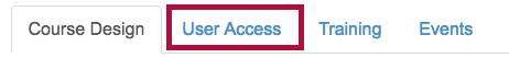 User Access tab on VTAC Support page