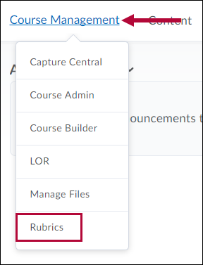 Shows Rubrics option in Course Management menu.