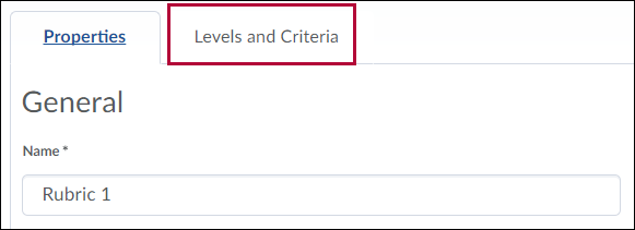 Levels and Criteria tab.