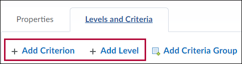 Levels and Criteria tab with