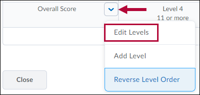 Identifies Edit Levels option in Overall Score dropdown menu options.